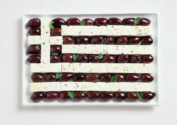 greece flag made from food 600x424